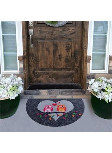 Giz Home Giz Home Boyalı Megan 40X75 Yarımay Çift Baykuş Desenli Kapı Paspası Renkli